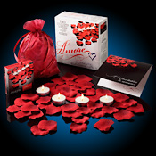 bed of red rose petals, Amore Romantic Gift Set