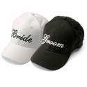 New Bride and Groom Baseball Caps-Black