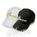 New Bride and Groom Baseball Caps-Gold