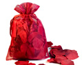 150 Silk Rose Petals Burgundy in 6x9 organza bag