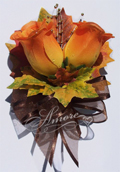 Orange Roses Corsage with Fall Maple Leaves